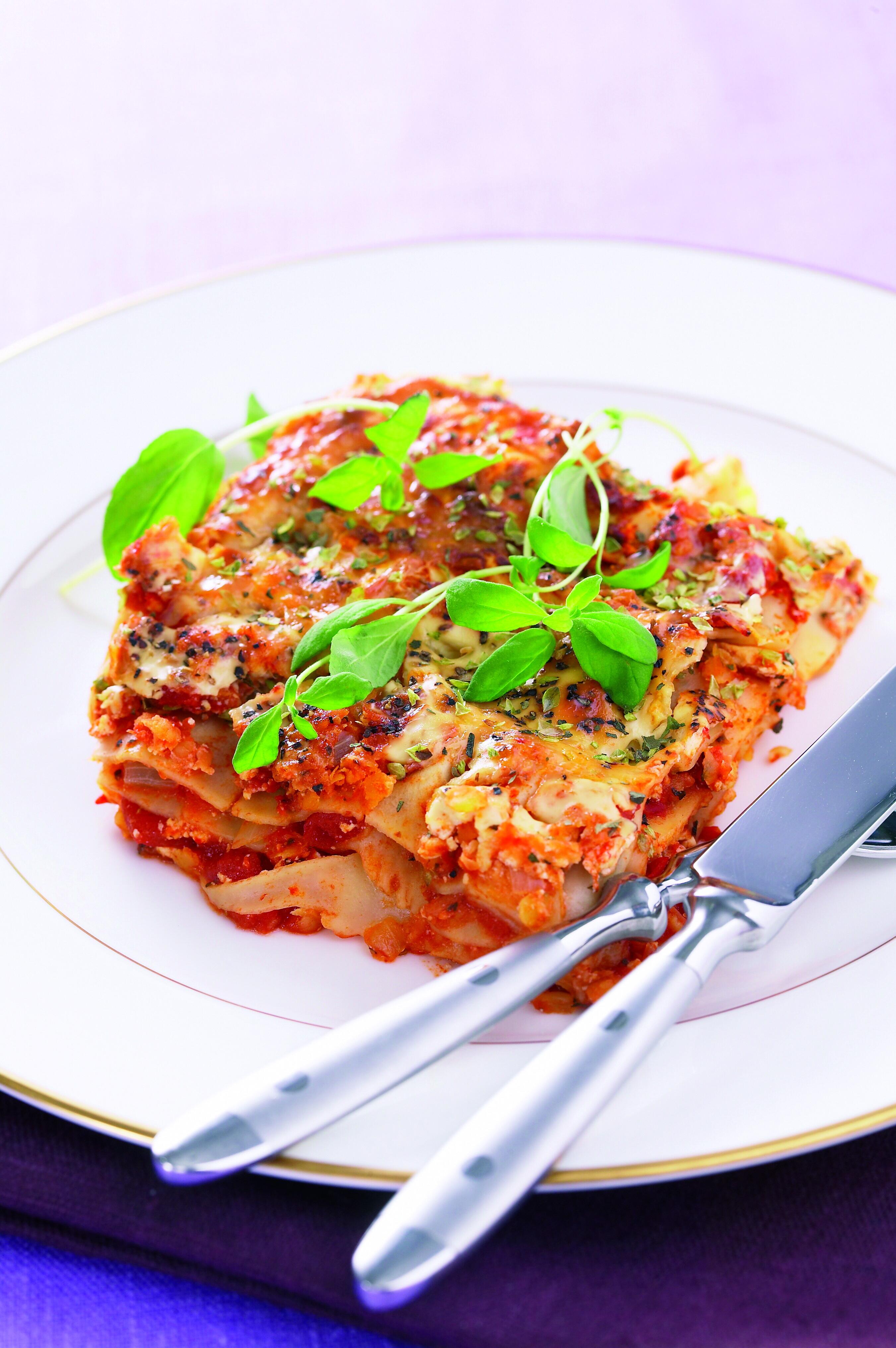 vegetarisk lasagne med linser